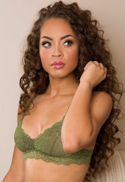 Intimates - Up All Night Lace Bralette - Olive