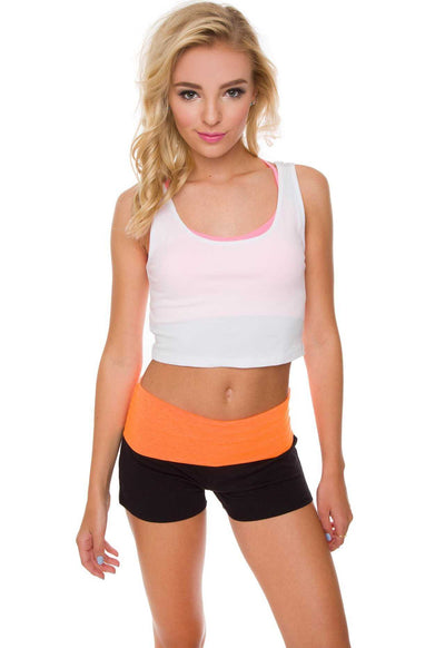 Yoga Shorts with Orange Fold Over Band