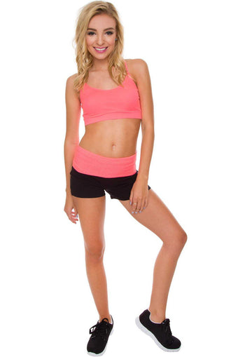 Yoga Shorts with Pink Fold Over Band