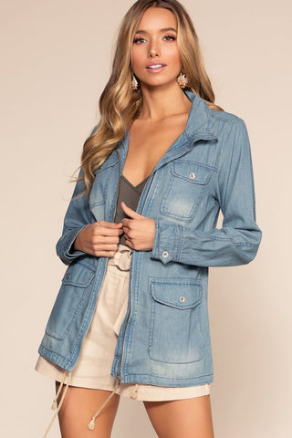 Greer Distressed Crop Denim Jacket