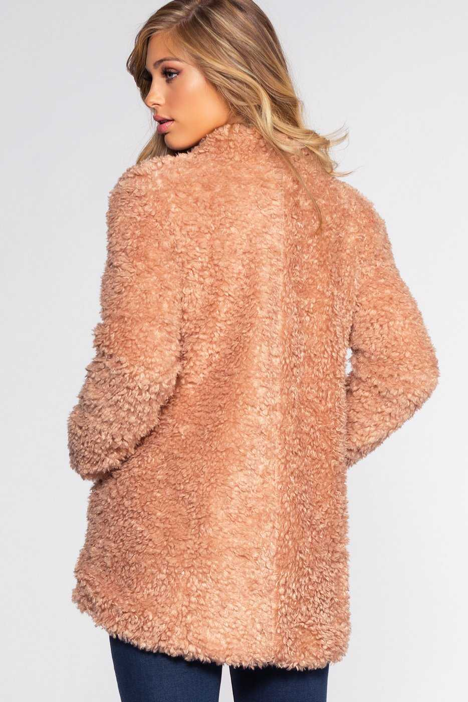 Jackets - Bailey Fur Coat - Apricot