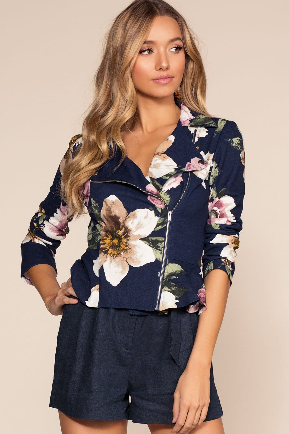 Jackets - Bunches Of Flowers Moto Blazer