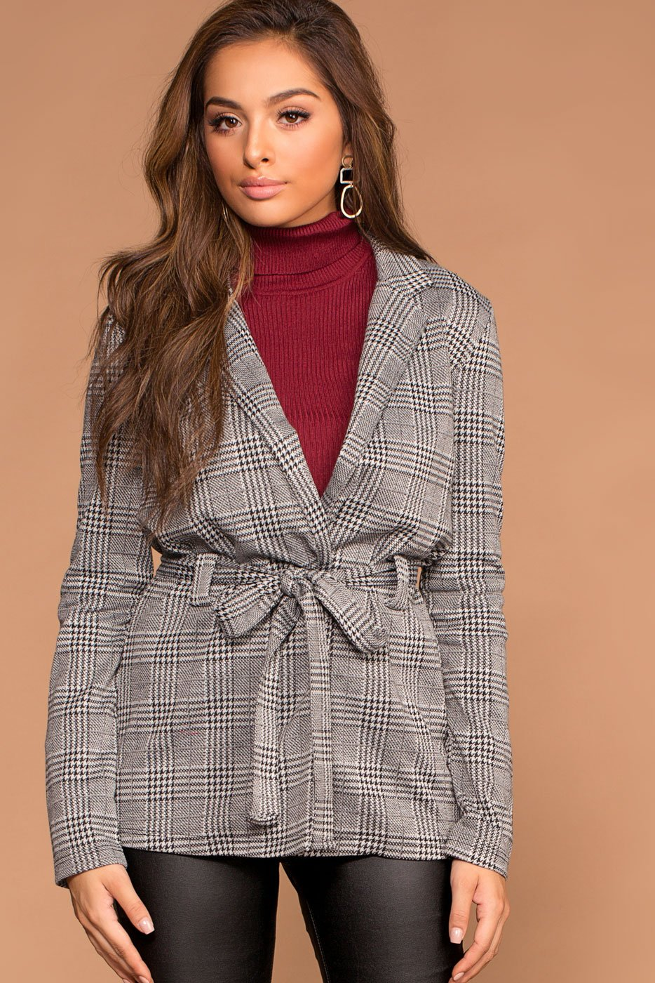 Grey Self-Tie Jacket