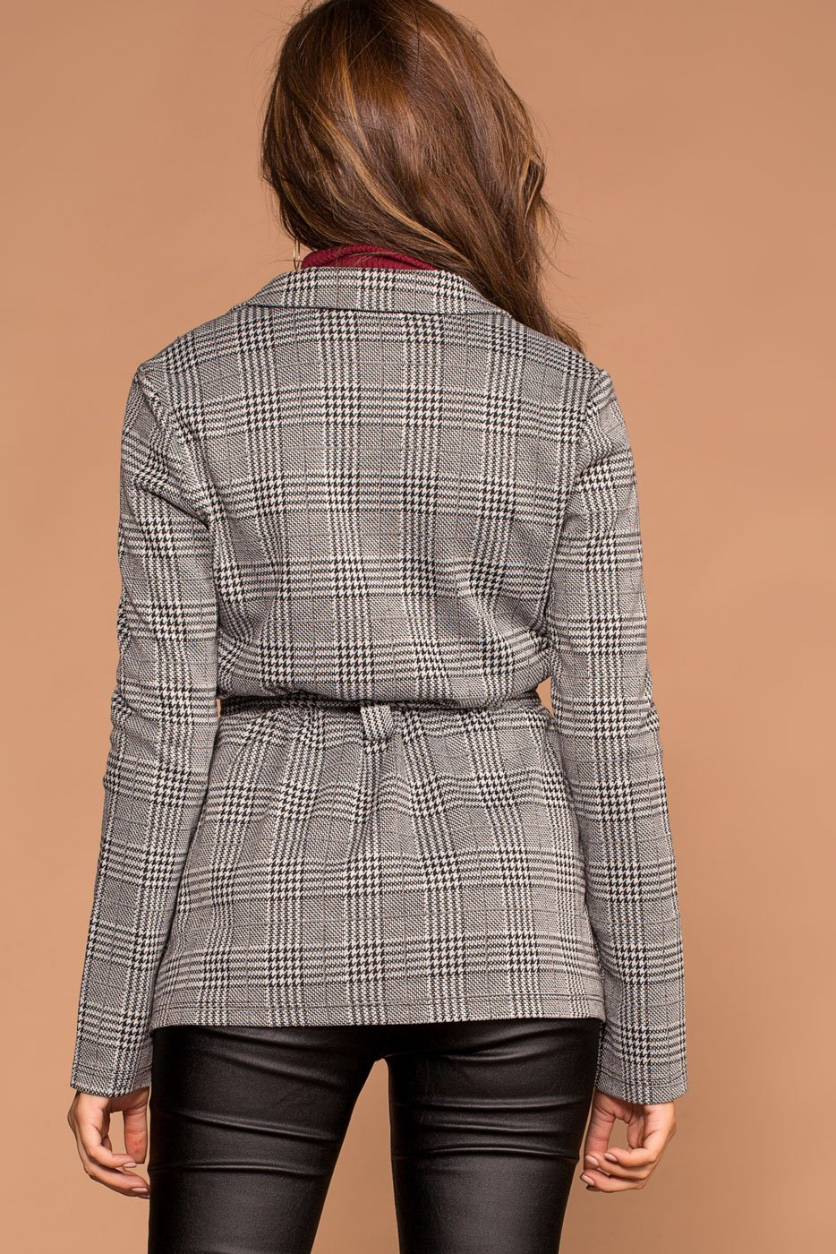 Jackets - Cynthia Plaid Self-Tie Jacket