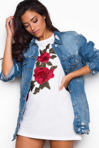 Daydreams White Floral V-Neck Tee