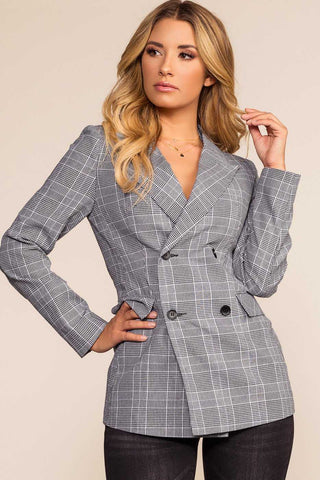 Pennington Black Plaid Coat