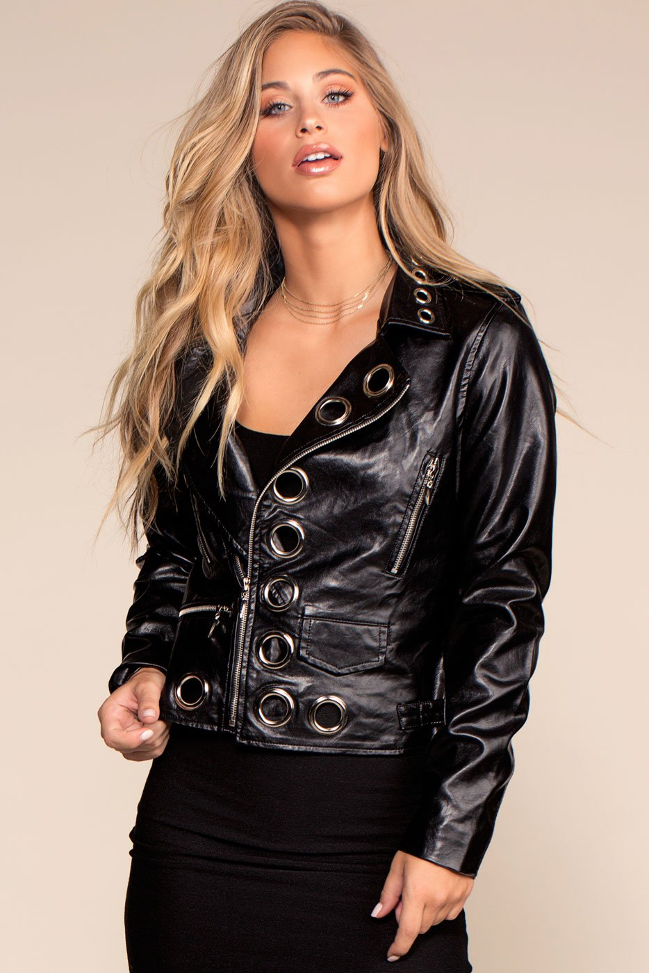 Jackets - Got Me Vegan Leather Grommet Jacket