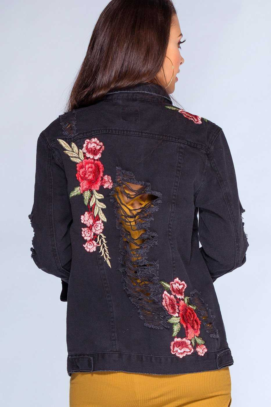 Jackets - Midnight Blossoms Distressed Denim Jacket