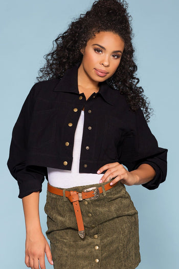 Jackets - Olivia Crop Denim Jacket - Black