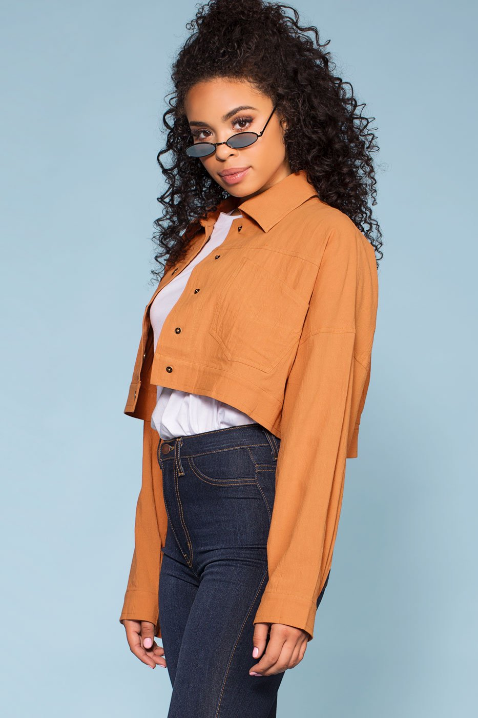 Jackets - Olivia Crop Denim Jacket - Camel