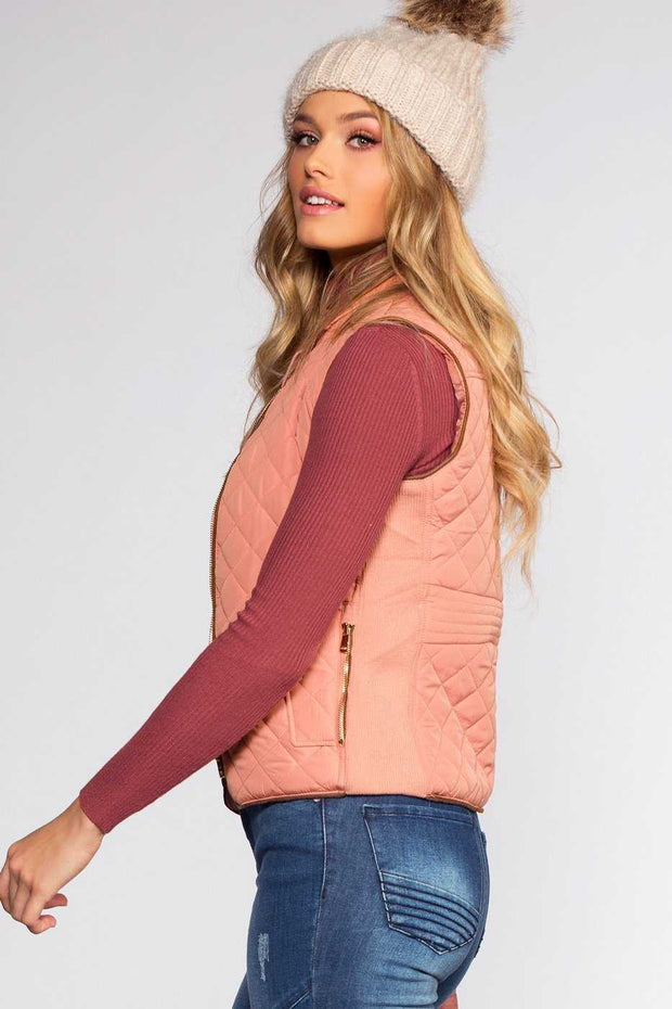 Jackets - Pinetop Quilted Vest - Blush