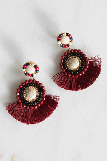 Jewelry - Americano Tassel Earrings - Burgundy