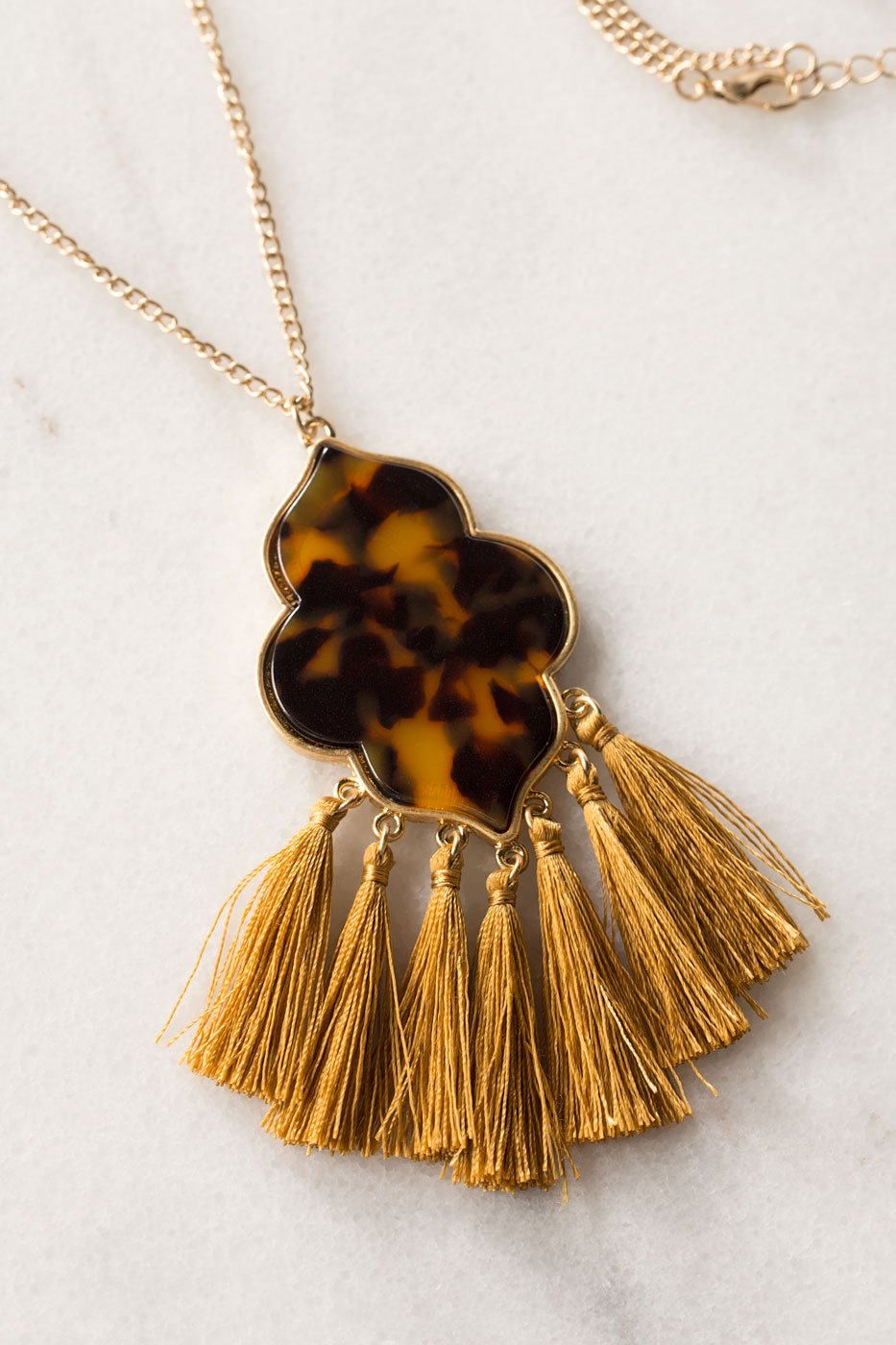 Jewelry - Jewel Tassel Necklace - Mustard