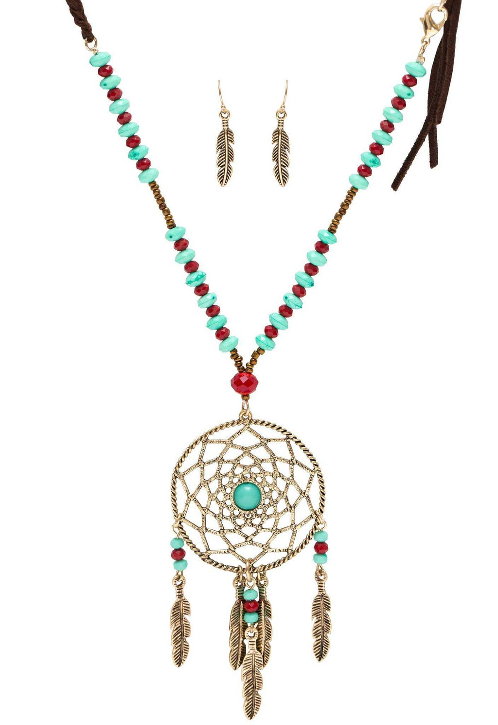 Jewelry - Joya Dreamcatcher Necklace Set - Burgundy