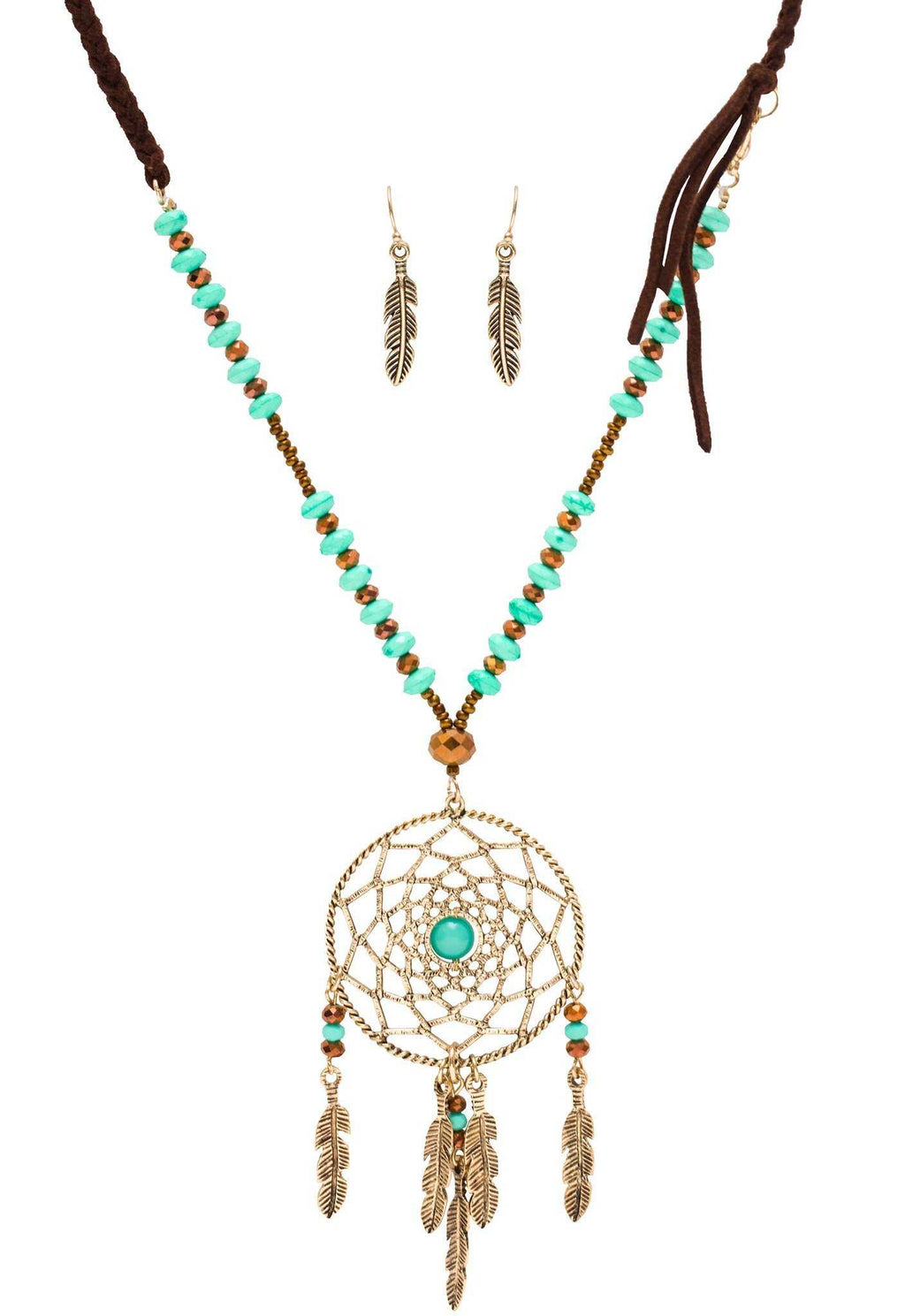 Jewelry - Joya Dreamcatcher Necklace Set - Turquoise