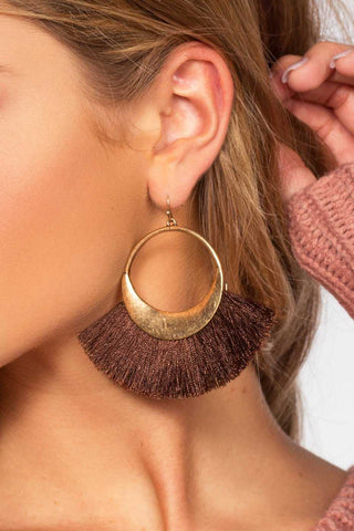 Americano Tassel Earrings - Burgundy