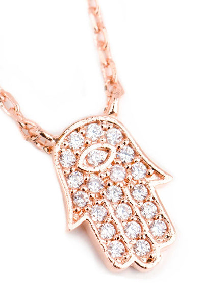 Jewelry - Little Hamsa Necklace - Rose Gold