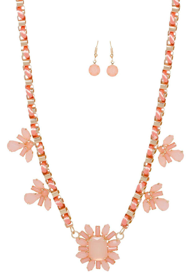 Jewelry - Orchid Necklace Set - Peach
