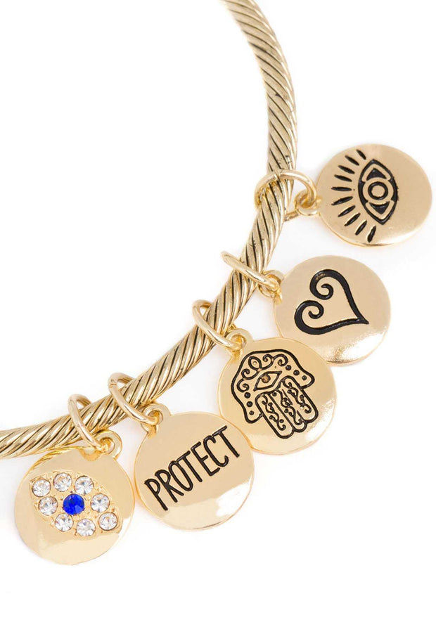 Jewelry - Protect Me Charm Bracelet - Gold