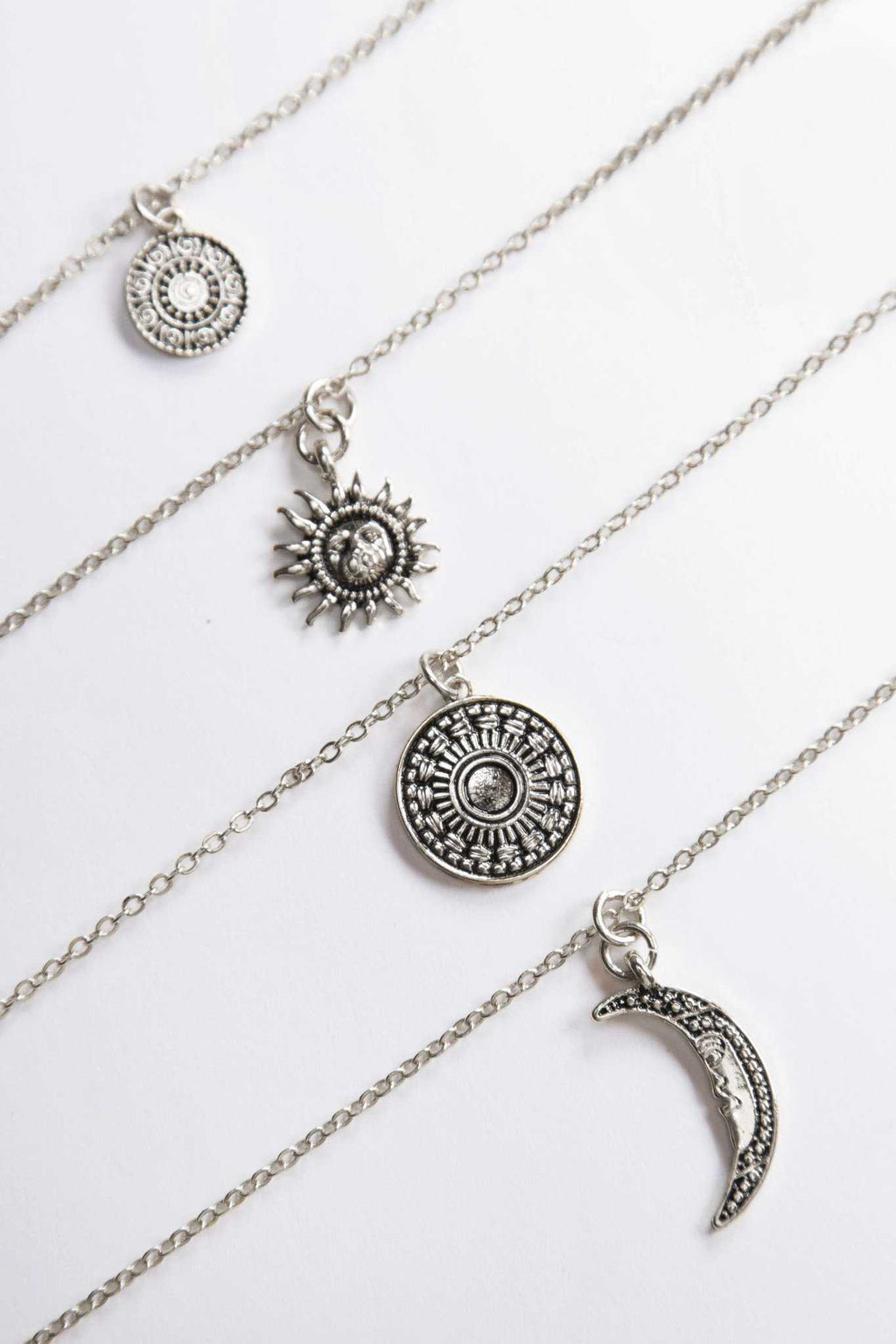 Tatum Layered Necklace Set Silver