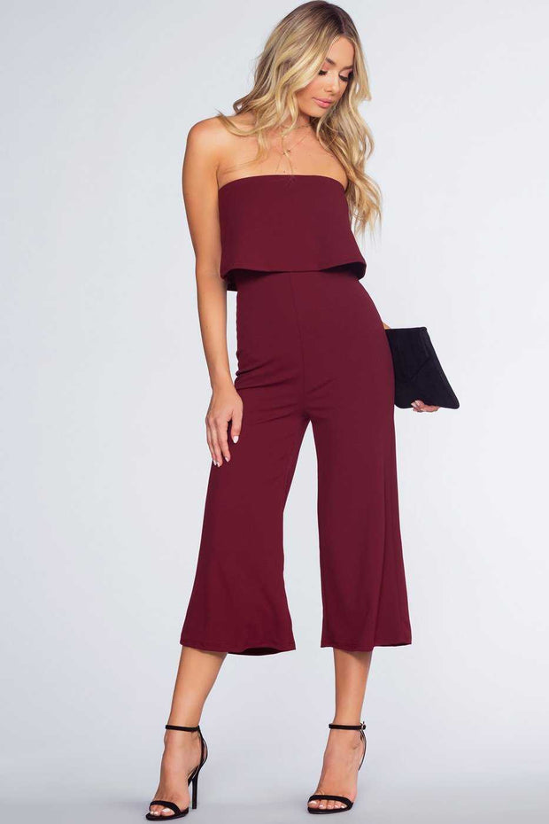 Burgundy Strapless Culotte Silhouette Jumpsuit
