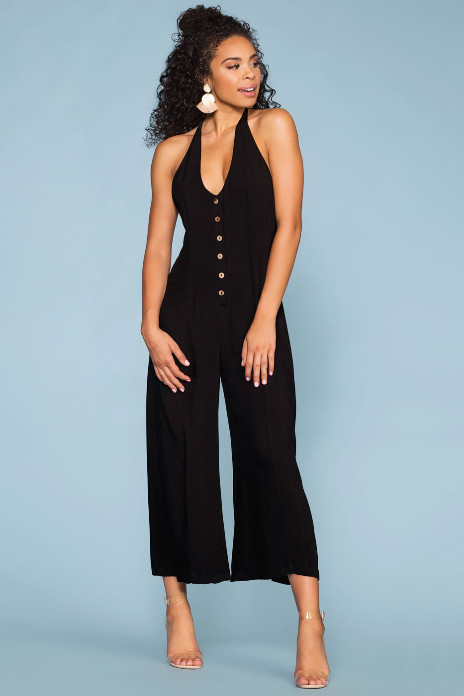 Black Button-Up Culotte Jumpsuit