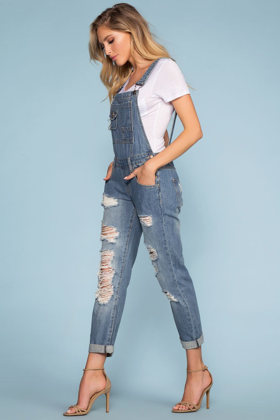 Jumpsuits - Carefree Distressed Denim Overalls