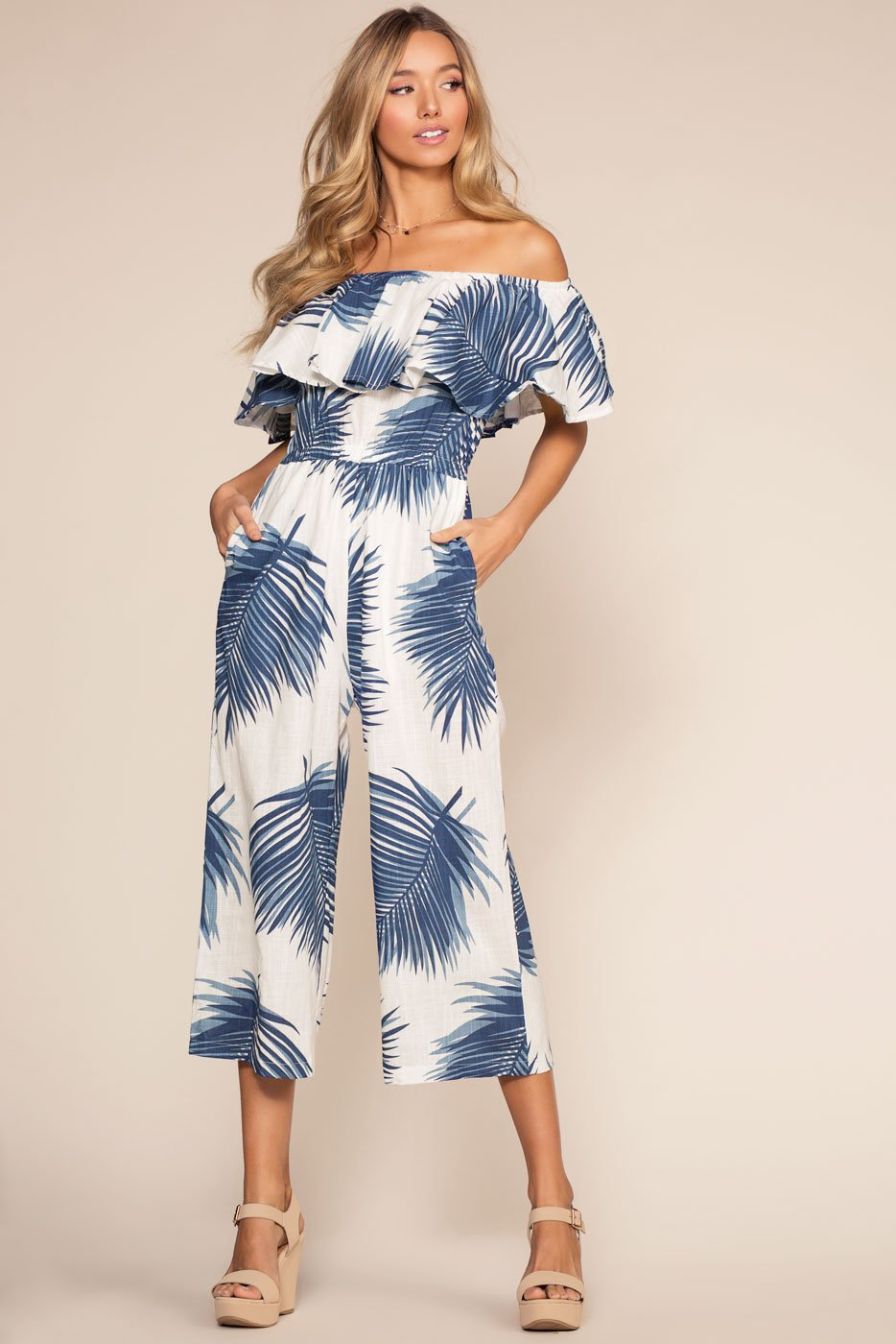 Jumpsuits - Isla Bonita Off The Shoulder Culotte Jumpsuit