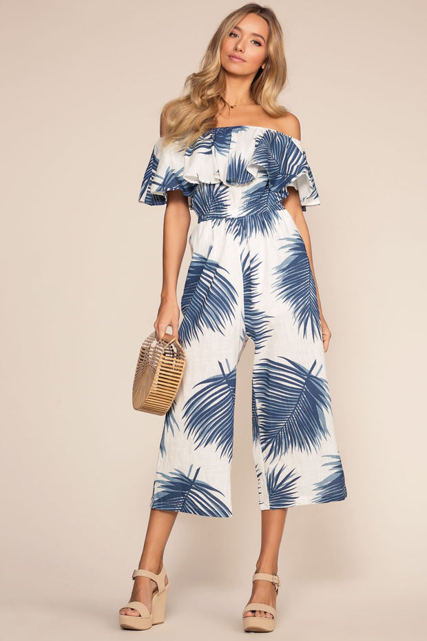 Blue Floral Print Off The Shoulder Culotte Jumpsuit