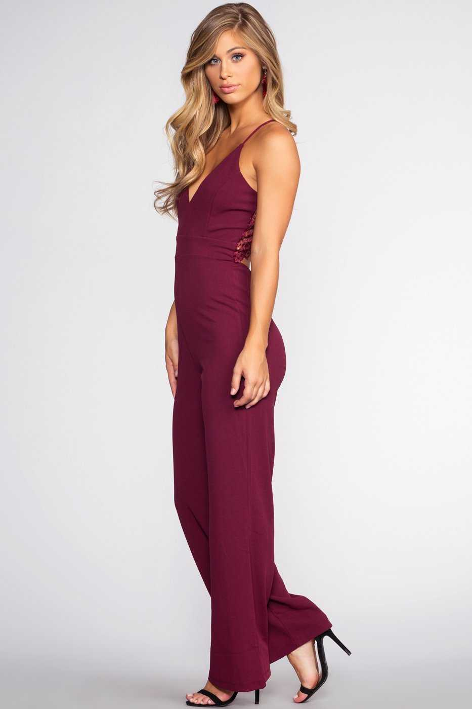 Jumpsuits - Lace Me Be Jumpsuit - Raisin