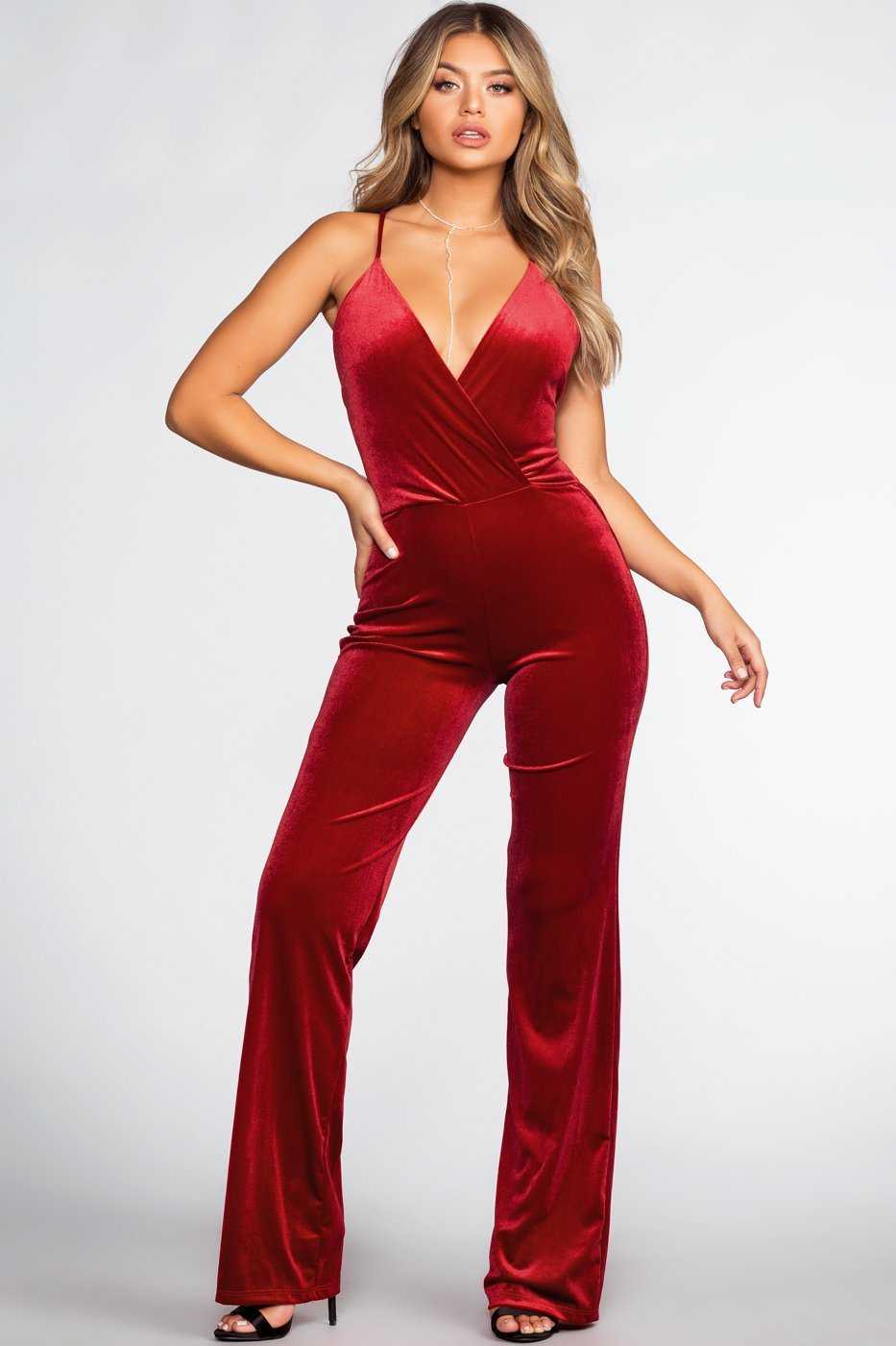 Jumpsuits - Live To Tell Velvet Jumpsuit - Red