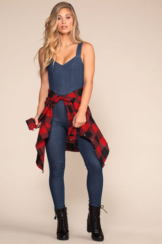 Off Track Plaid Highwaisted Racer Stripe Jeggings - Red