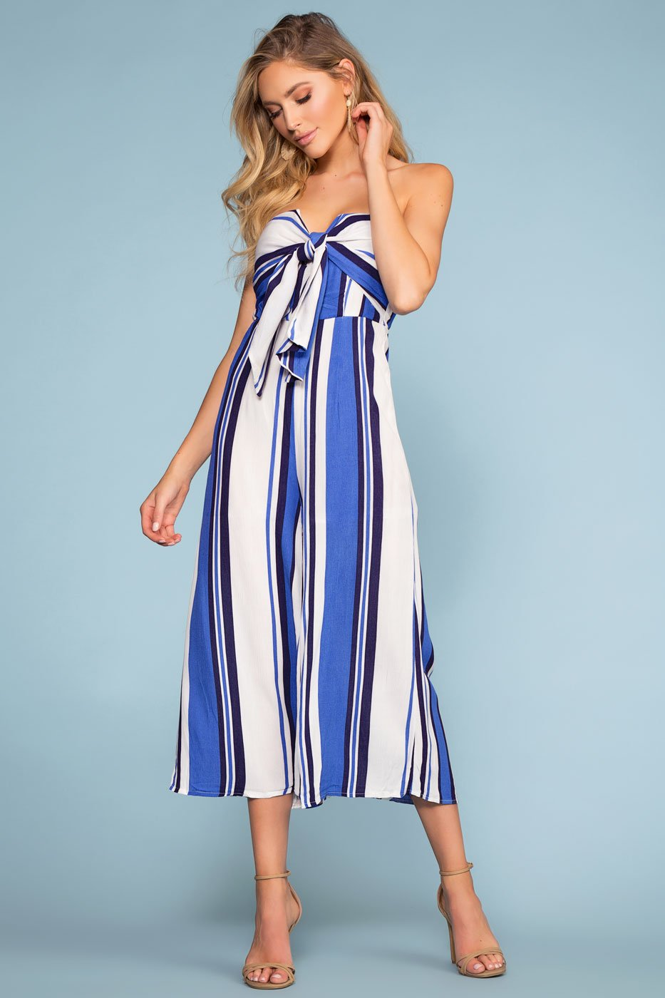 Jumpsuits - Santa Barbara Stripe Culotte Jumpsuit - Blue