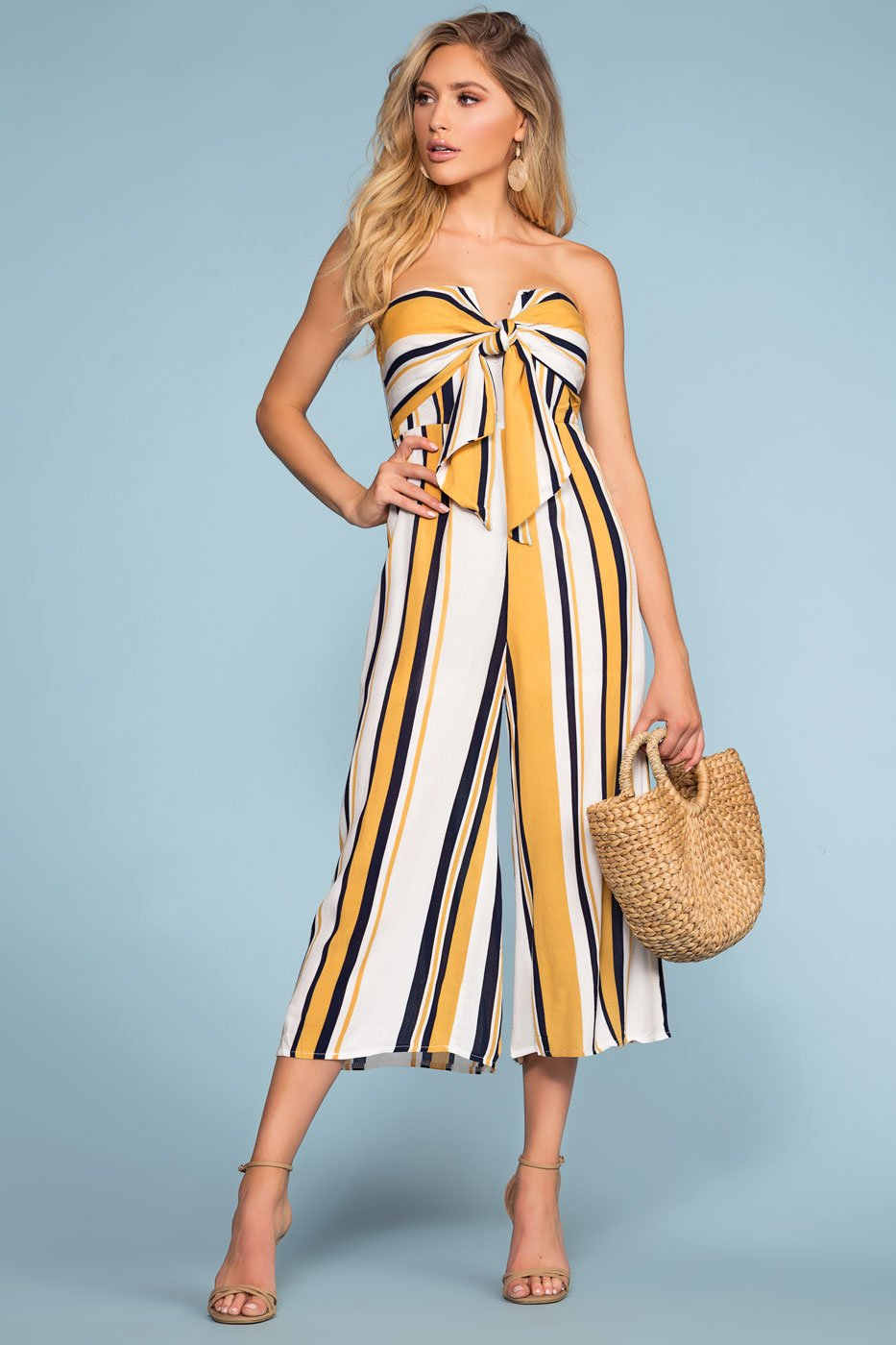 f91cae871b3 Santa Barbara Stripe Culotte Jumpsuit - Yellow
