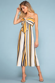 Jumpsuits - Santa Barbara Stripe Culotte Jumpsuit - Yellow