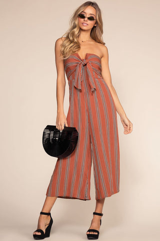 Santa Barbara Stripe Culotte Jumpsuit - Blue