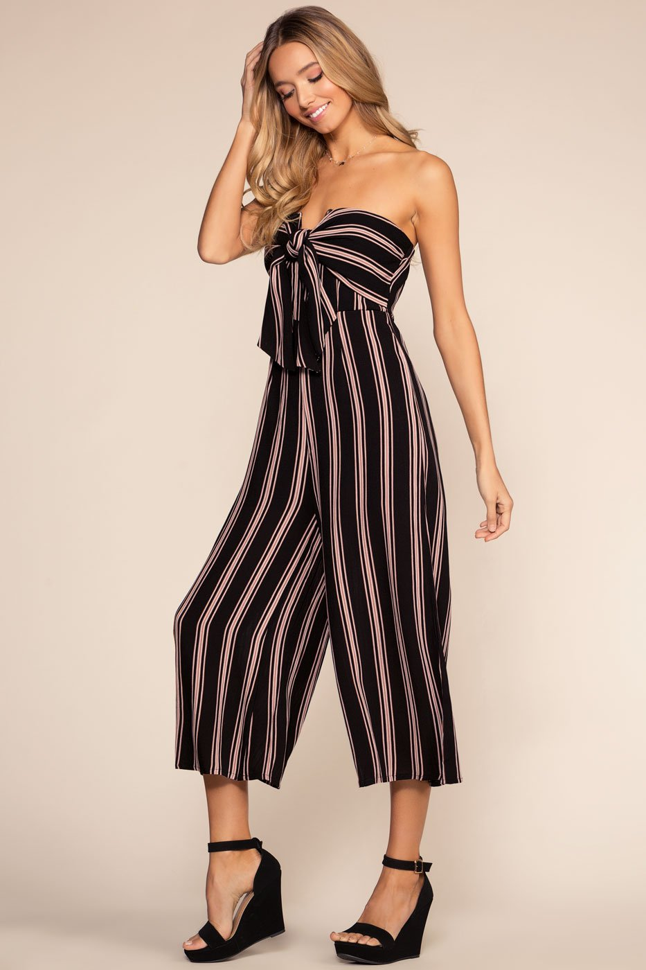 Jumpsuits - Weekend Wishes Culotte Jumpsuit - Black