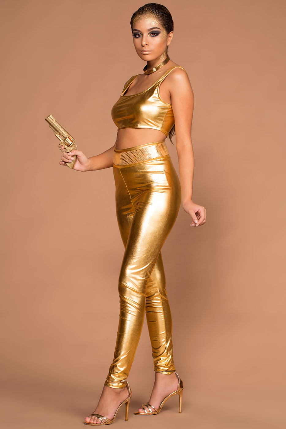 Leggings - Bond 007 Metallic Gold Top And Leggings Halloween Costume Set