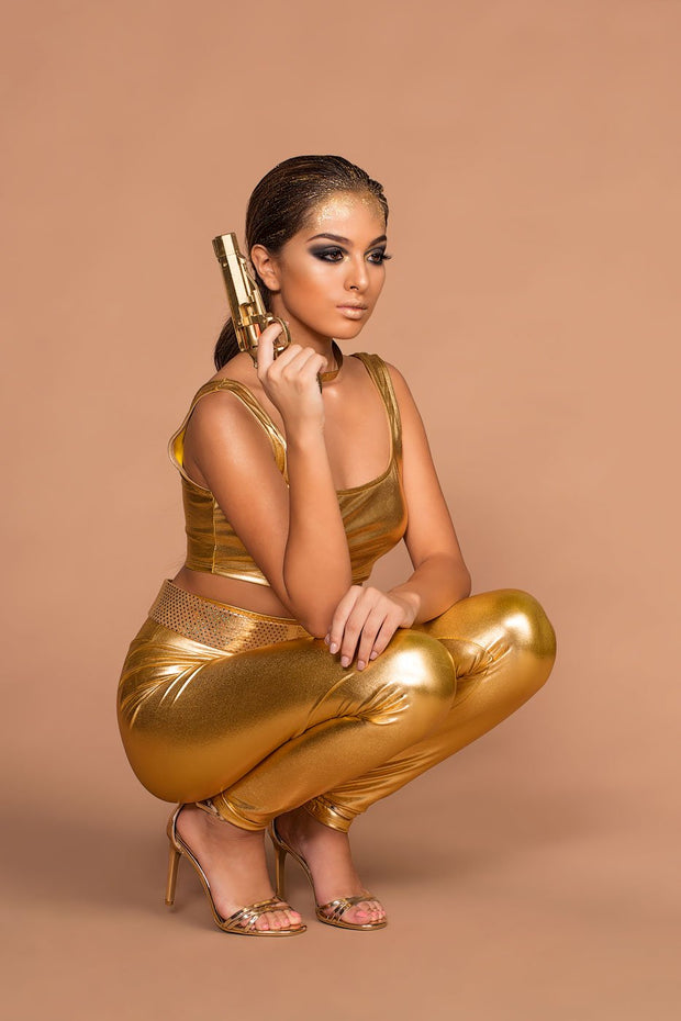 Metallic Gold Top And Leggings Halloween Costume Set