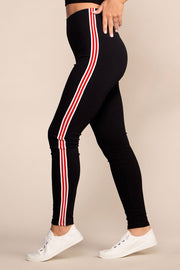 Black Leggings with Red Stripes