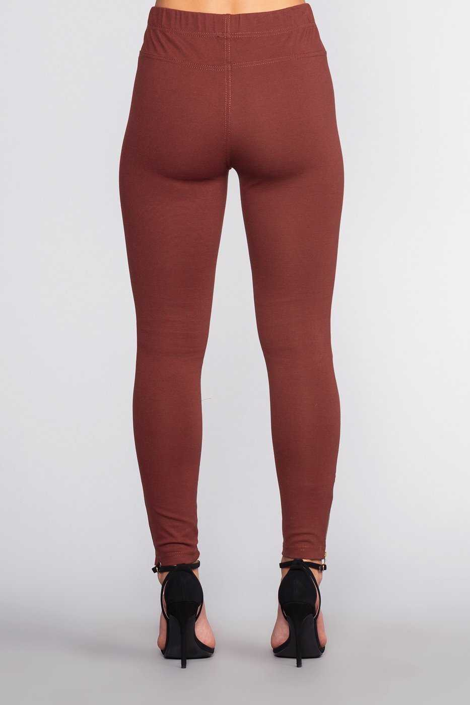 Leggings - Jaxon Moto Jeggings - Burgundy