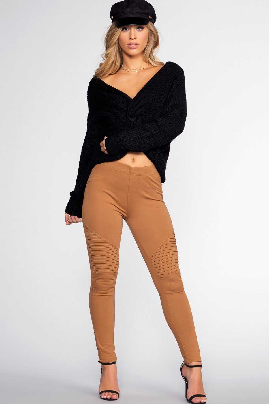 Leggings - Jaxon Moto Jeggings - Camel