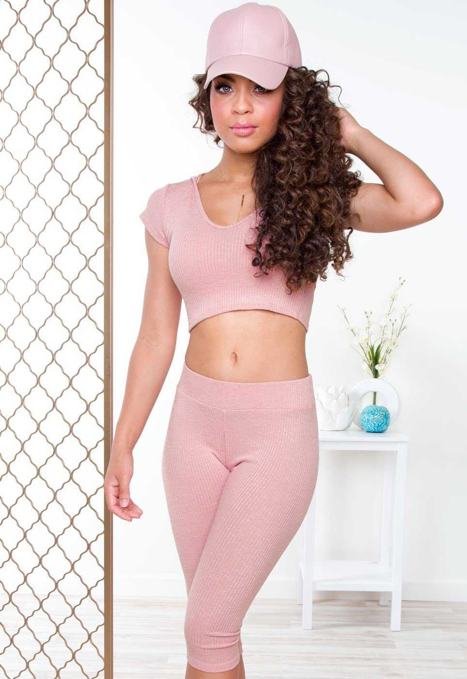 Leggings - Like Fire Ribbed Leggings - Blush
