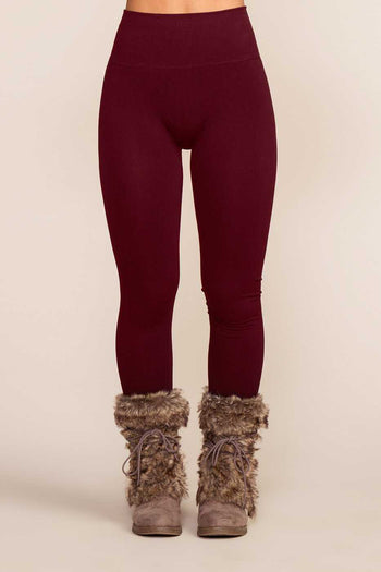 Leggings - Maja Fleece Leggings - Burgundy