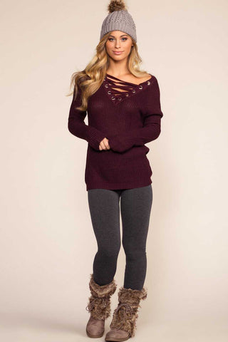 Alli Distressed Tee - Burgundy