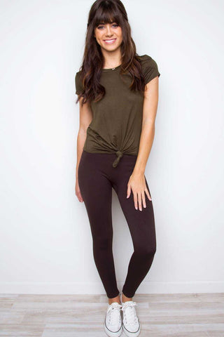 Marina Camel Control Top Fleece Leggings