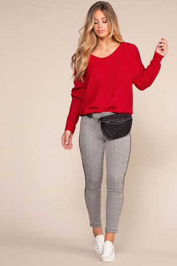 Shop Priceless | Plaid | Highwaisted Jeggings | Red | Womens