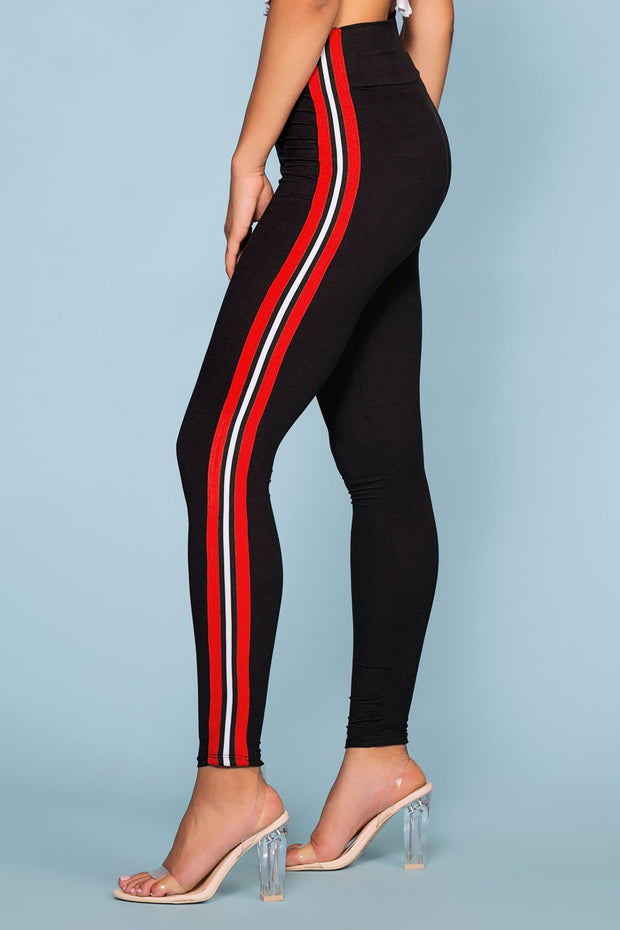 Leggings - Outta Line Racer Stripe Black High Waist Leggings