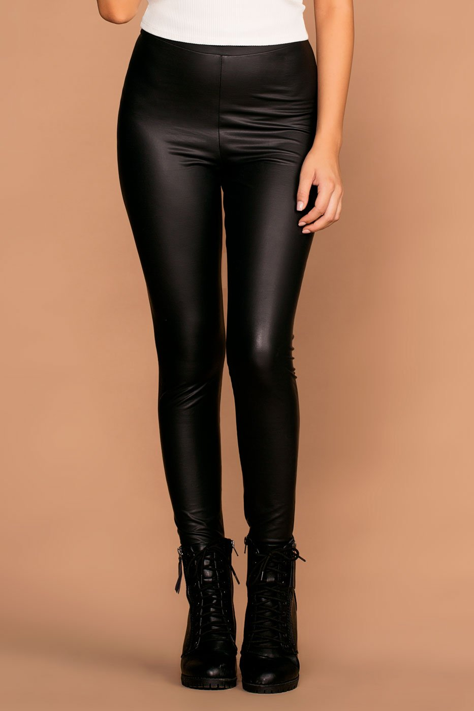 Leggings - Panther Black Vegan Leather Leggings
