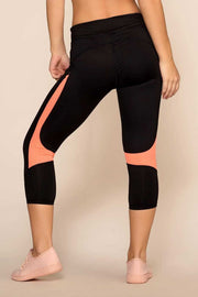 Leggings - Running Past Crop Leggings - Coral
